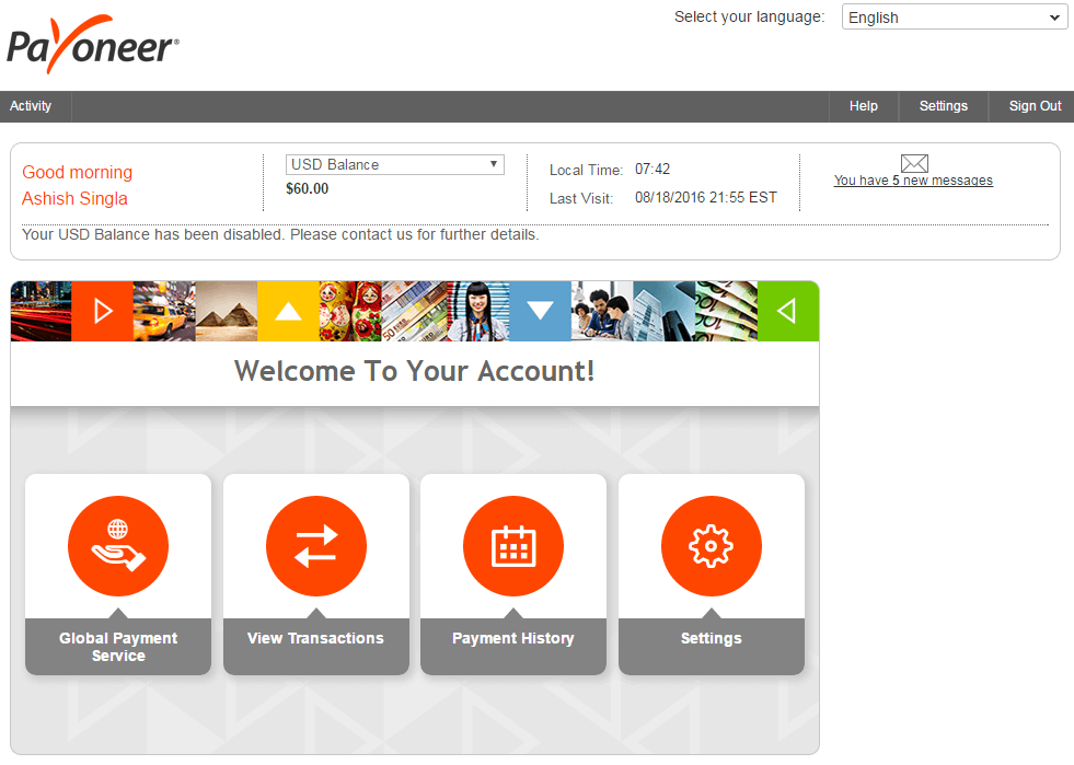 Payoneer Account Status on 6 July 2016