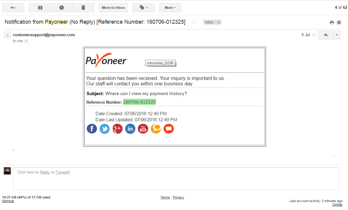 Payoneer 6 July 2016 Email