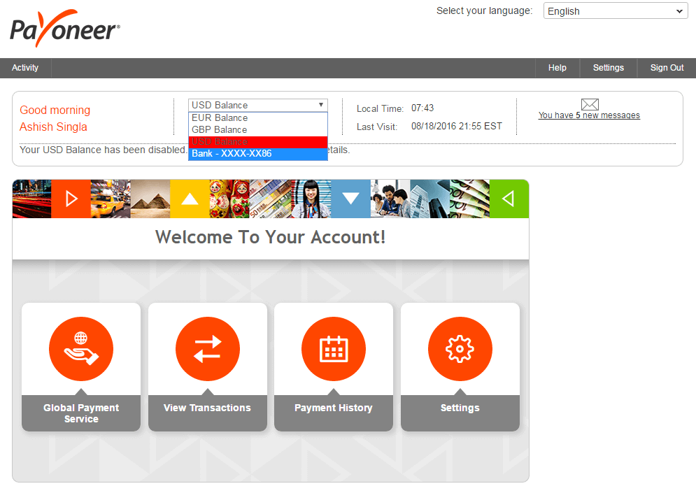 Payoneer 6 July 2016 Bank Account