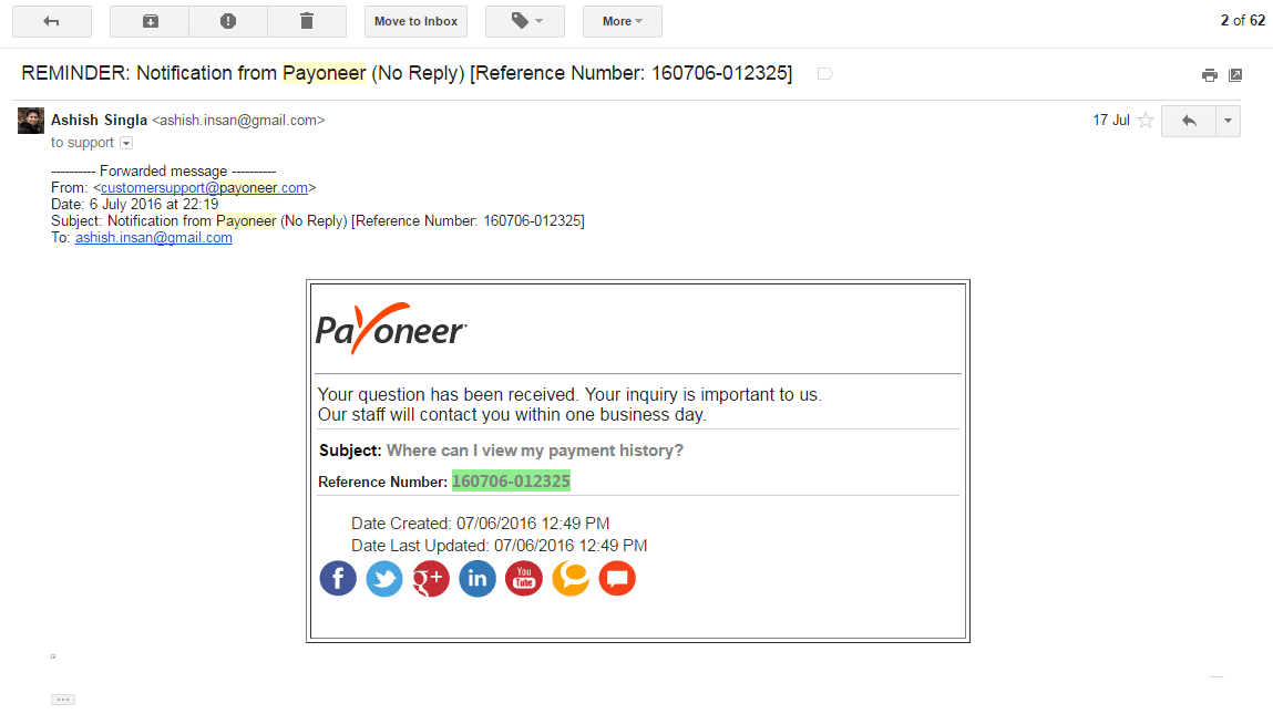 Payoneer 17 July 2016 Email